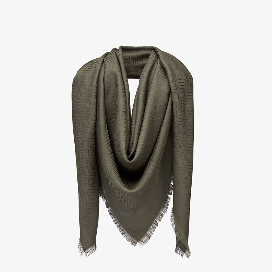 FENDI FF SHAWL - Shawl in green silk and wool - view 2 detail