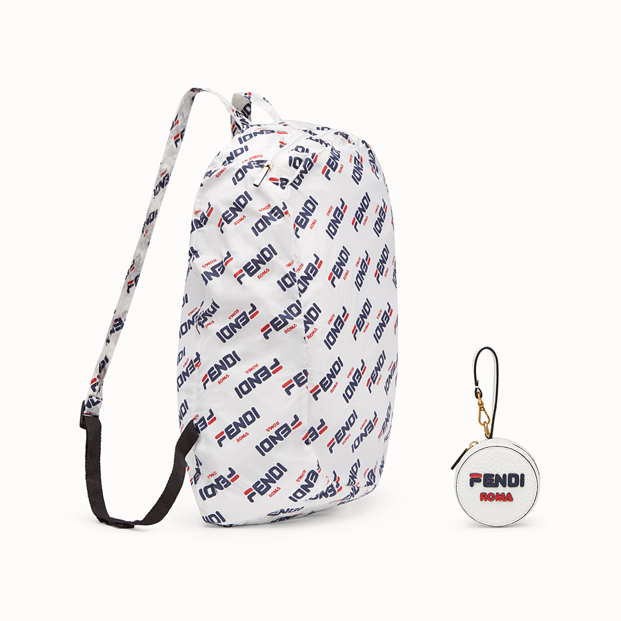 FENDI BACKPACK CHARM - White leather charm with fabric backpack - view 4 detail
