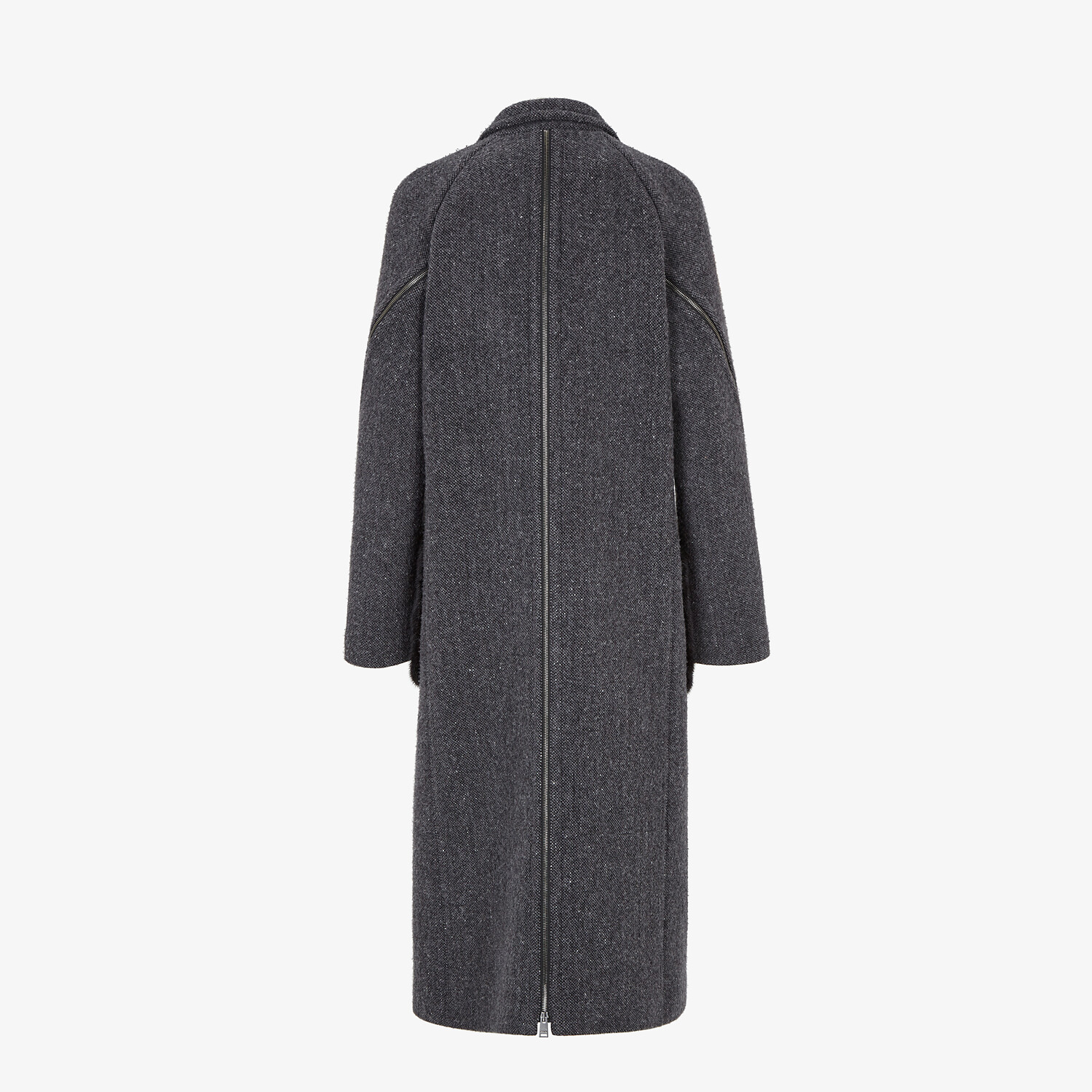 FENDI COAT - Gray melange double wool tweed coat - view 2 detail